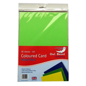 A4 Coloured Card - 40 Sheets - 4 Colours Included - by Owl