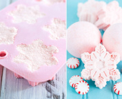 Tyoungg Pink Silicone Bath Bomb Mould Fizzies Christmas Snowflake Mould 6 Cavity