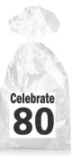 Black and Grey Celebrate 80th Birthday Party Favour Bags with Ties - 12pack