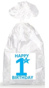 Boys Blue Happy 1st Birthday Party Favour Bags with Ties - 12pack