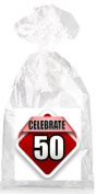 Celebrate 50th Birthday on Red Party Favour Bags with Ties - 12pack