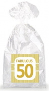 Golden Striped Fabulous 50th Birthday Party Favour Bags with Ties - 12pack