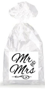 Mr. and Mrs. Cursive Party Favour Bags with Ties - 12pack