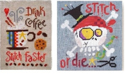 drink coffee and stitch faster ,and stitch or die counted cross stitch, cotton thread , 14ct linen aida fabric counted cross stitch kits