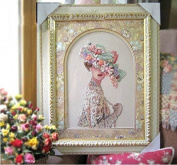 lady looking back counted cross stitch, cotton thread , 14ct 30x46cm 110x199 Stith counted cross stitch kits