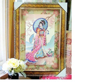 Japanese Lady counted cross stitch, cotton thread , 14ct 36x56 cm 140x252 Stitch counted cross stitch kits