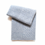 Esteffi Cable-Border Wool Blend Baby Blanket, Grey