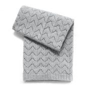 Esteffi Fan Stitch Wool Blend Baby Blanket, Grey