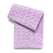 Esteffi Fan Stitch Wool Blend Baby Blanket, Lavender