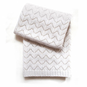 Esteffi Fan Stitch Wool Blend Baby Blanket, Ivory