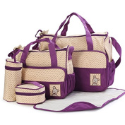 Multifunction Baby Travel Nappy Tote Bag,Purple