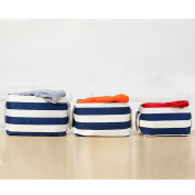 Fieans Cotton Collapsible Household Organiser Basket for Storage, Drawstring Closure with Handles,Lightweight for Toys,Dorm-room Storage Boxes-Blue Stripe Small Size