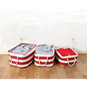 Fieans Cotton Collapsible Household Organiser Basket for Storage, Drawstring Closure with Handles,Lightweight for Toys,Dorm-room Storage Boxes-Red Stripe Middle Size