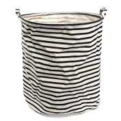 Fieans Cartoon Household Laundry Storage Basket Foldable Clothes Toys Storage Barrels Bucket Bin Pop Up Storage-Black Stripe