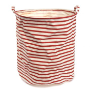 Fieans Cartoon Household Laundry Storage Basket Foldable Clothes Toys Storage Barrels Bucket Bin Pop Up Storage-Red Stripe