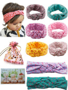 BS® 6pcs of Highest Quality Cute Baby Girl's Headbands Cotton Turban Knotted Headband Head Wrap Newborn Knotted Elastic Hair Bands Headwear Set with Dot, For Head circumference