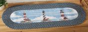 Nautical Coastal Lighthouse Braided Runner Rug