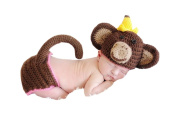 Pinbo® Newborn Baby Photo Prop Crochet Animal Monkey Banana Hat Nappy