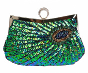 Bywen Womens Sequined Peacock Purse Party Clutch Shoulder Bags