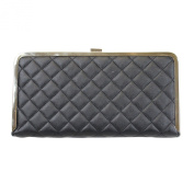 Quilted Box Black Evening Clutch with Rhinestone Border Gold Tone, 28cm Long