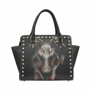D-Story Custom Cool Doberman PU leather Rivet Shoulder Handbags