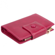 YALUXE Women's Compact Small Tri-Fold Leather Wallet with Zipper Coin Pocket