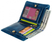 YALUXE Women's Compact Small Bi-fold Leather Wallet with Coin Pocket ID Window