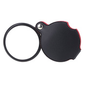 TOOGOO(R) 5X Glass Lens Pocket Magnifier with Leather Pouch Folding Magnifying Tool