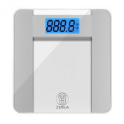"""ZERLA Digital Bathroom Scale - Highly Accurate Digital Scale with Large 11cm LCD Display - 180kg Capacity & """"Step-On""""Technology & High Quality Tempered Glass"""