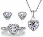 Siarola 8mm Heart Shape Cubic Zirconia CZ White Gold Plated Sterling Silver Pendant Earrings Ring Set S118