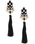 B Jewellery Collection Dramatic Extra Long Tassel Drop Earrings 20cm , Black