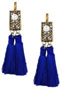 B Jewellery Collection Double Tassel Openwork Drop Earrings, Blue