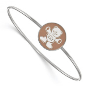 925 Sterling Silver Rhodium-plated Sorority Round Disc Sigma Delta Tau Enamelled Slip-on Bangle Bracelet 18cm
