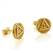 Azaggi Sterling Silver Handcrafted Stud Earrings Illuminati Circle
