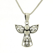 Angel Antiqued Finish 925 Sterling Silver Love Peace Pendant Necklace Chain