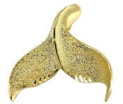 Solid 14k yellow gold hawaiian diamond cut whale tail slide pendant 24.80mm