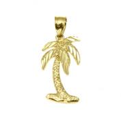 Solid 14k yellow gold medium hawaiian island palm tree charm pendant diamond cut