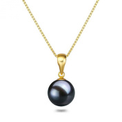"Black Pearl Pendant 16"" or 18"" 7-9mm Freshwater Pearl Pendant Necklace Sterling Silver Necklace Chain"