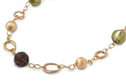 Bead Gold-Tone Link Necklace Simulated Garnet Rhinestone Simulated Peridot Rhinestone .925 Sterling Silver, 50cm