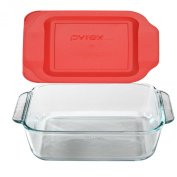 Pyrex 20cm Square Baking Dish with Red Plastic Lid