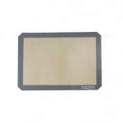 Yontree Silicone Baking Mat Non Stick Cookie Sheets -1 x Quarter Size (29cm x 22cm ) Grey Edge Brown Base
