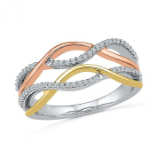 The Orion Collection - Three Tone 10K Gold And Diamond Fashion Band for Her