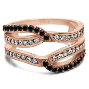 Black Diamond Black And White Diamond Infinity Wedding Ring Guard Enhancer Set In Rose Gold Plated Sterling Silver
