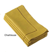 Chartreuse Green Handmade Classic Hemstitch Dinner Napkin (Set of 6), 50cm Square Shape