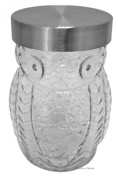 Clear Glass Owl Shaped 1240ml Large Biscotti Cookie Storage Canister Display Jar
