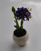 New Sweet Flower Purple Agapanthus Miniature Clay Flower Plant for Dollhouses Fairy Gardens Dollhouse Display Kid Learning Tool Free Lucky Gift
