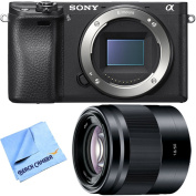 Sony ILCE-6300 a6300 4K Mirrorless Camera Body w/ 50mm f/1.8 Prime Lens Bundle includes a6300 Camera, 50mm Prime Lens and Beach Camera Microfiber Cloth