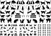 Mini Cats 0.6cm - 2.5cm - Black 15CC537 Fused Glass Decals