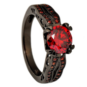 Junxin Jewellery Black Gold 8MM Round Dark Red Ruby CZ Filled Solitaire Ring Engagement Size5/6/7/8/9/10/11