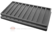 2 Grey Insert Tray Liners W/ 10 Slot Each Drawer Organiser Jewellery Displays